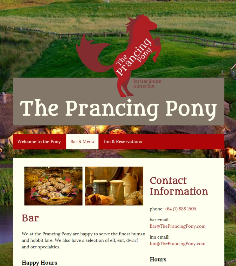 Prancing Pony Website Preview