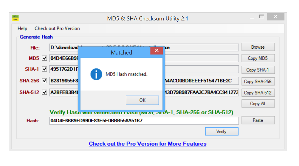 md5 & sha checksum utility download