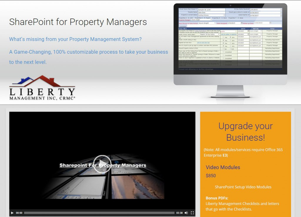 SharePoint for Property Managers website preview