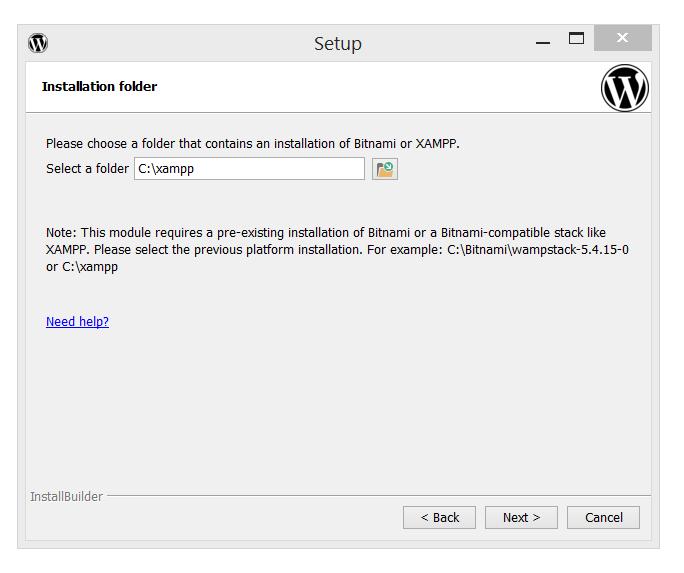 Bitnami's WordPress installation folder selection