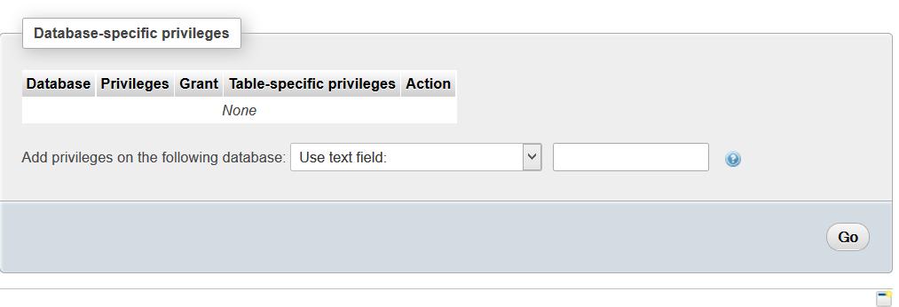 PHPMyAdmin User Database Selection