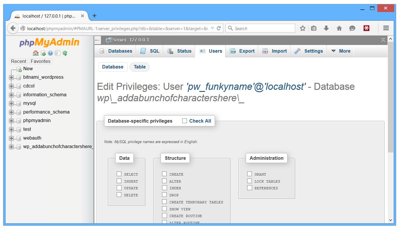 PHPMyAdmin Edit Database Privileges