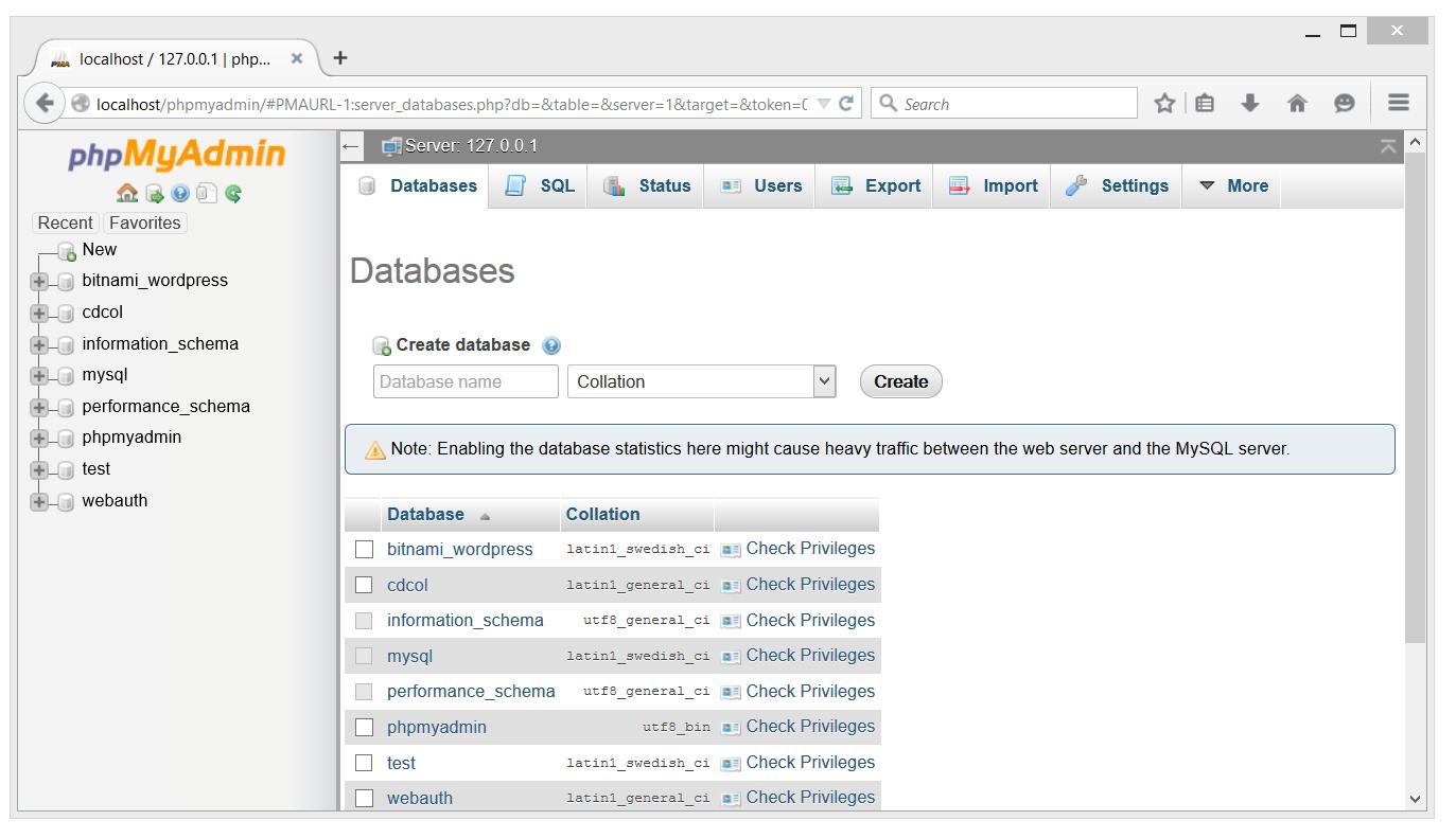 PHPmyAdmin Database page