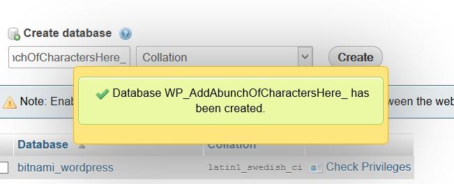 PHPmyAdmin Database created popup
