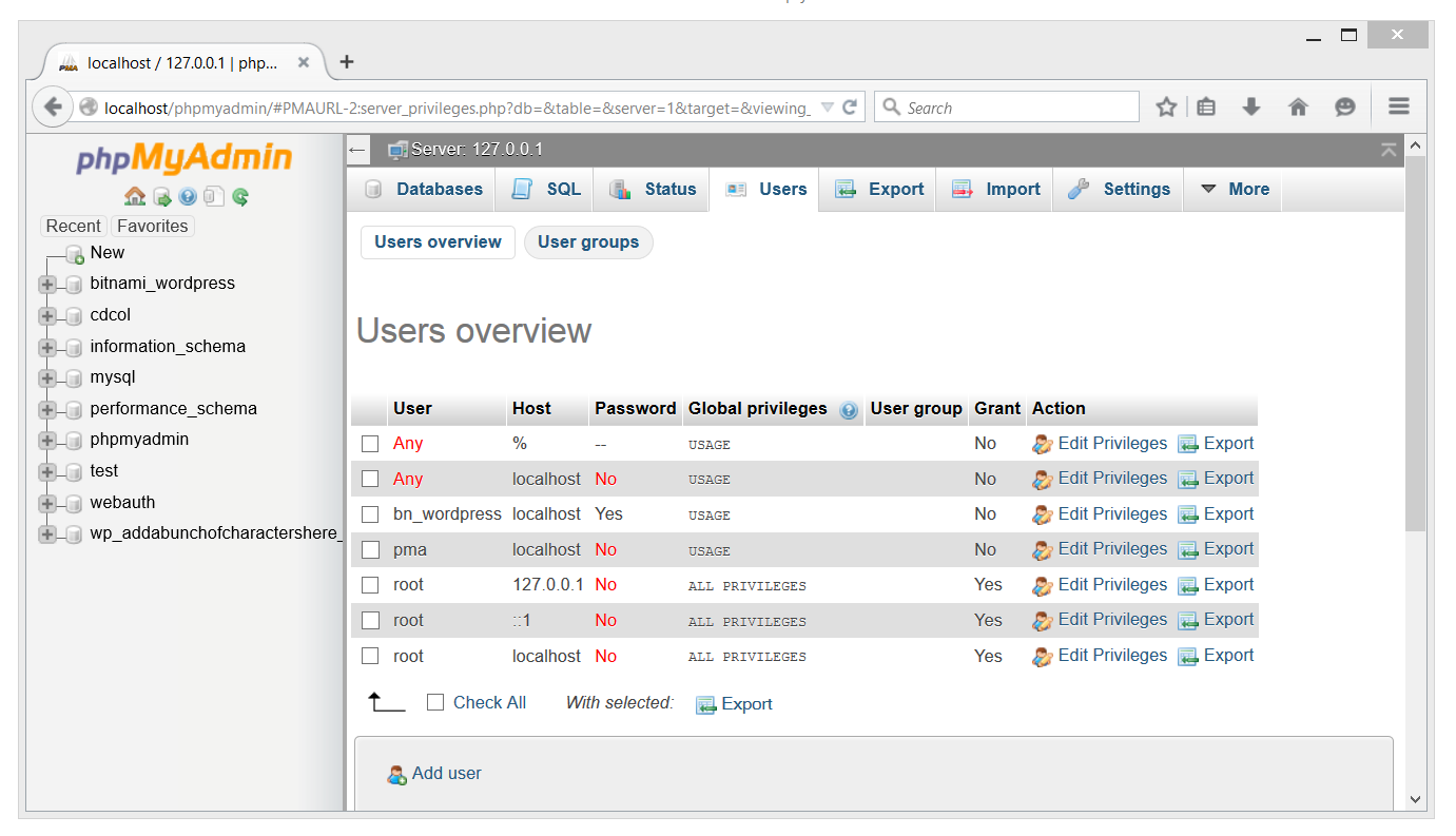 PHPmyAdmin Users page