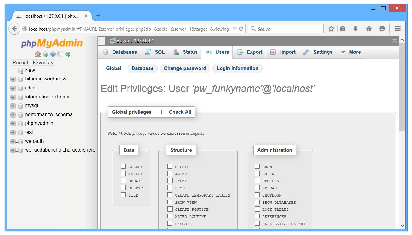 PHPmyAdmin Edit privileges page