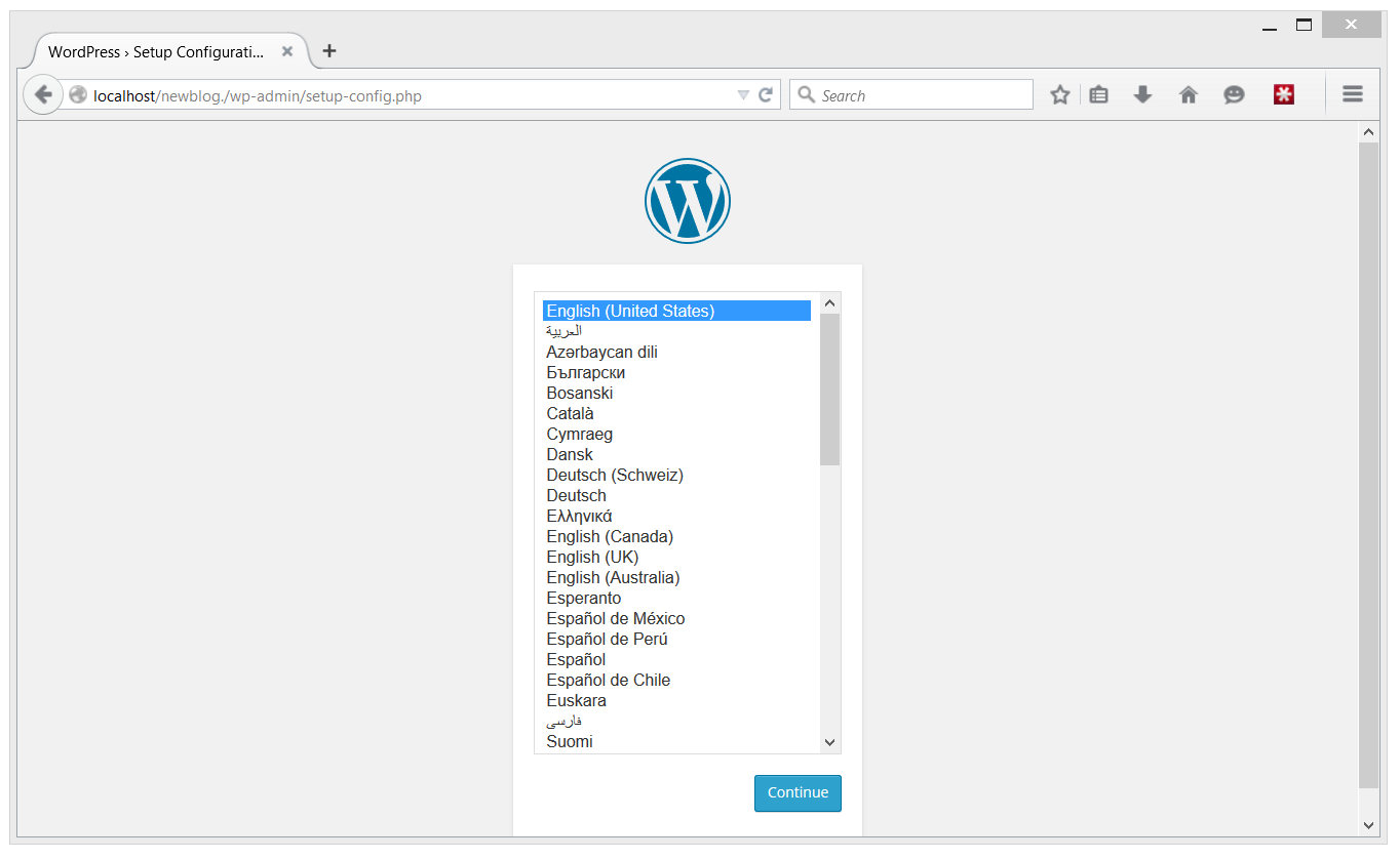 WordPress language page