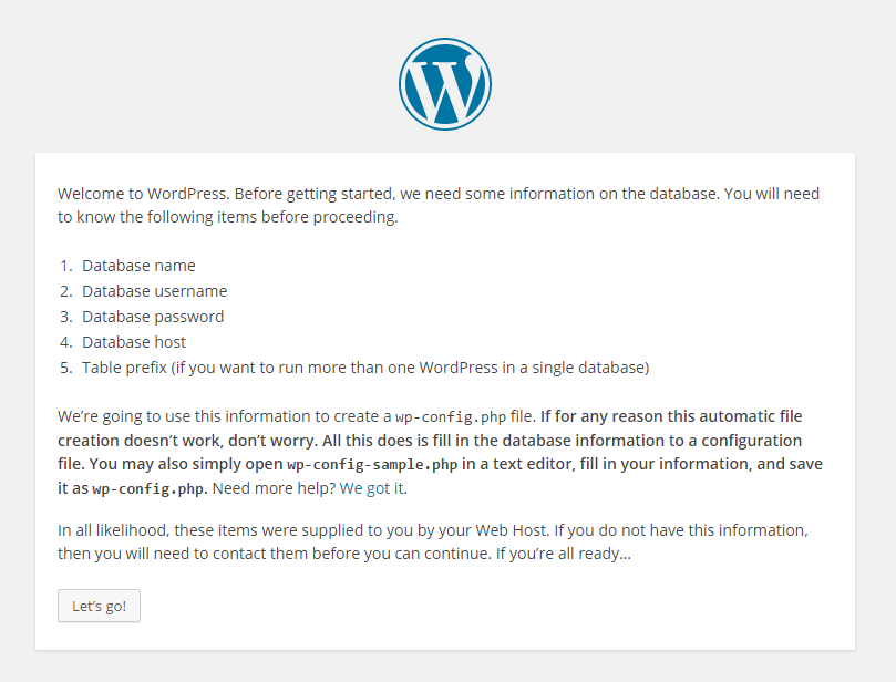 WordPress Start info