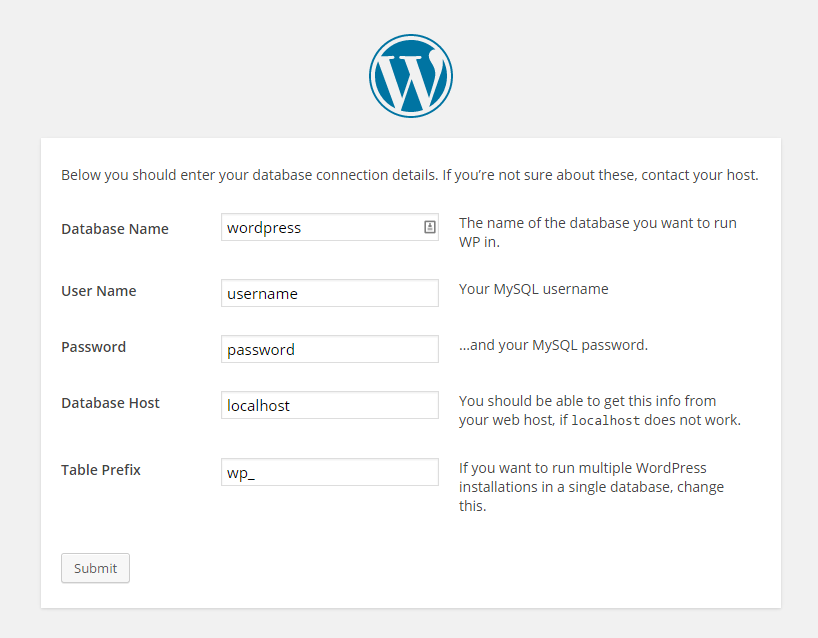Wordpress information entry