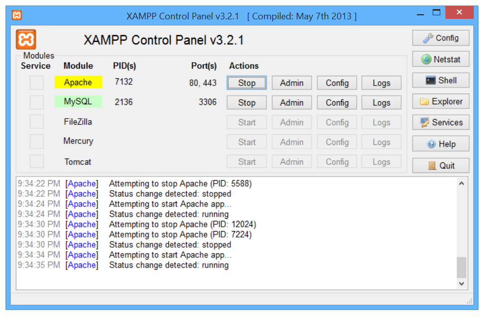Xampp control panel loading