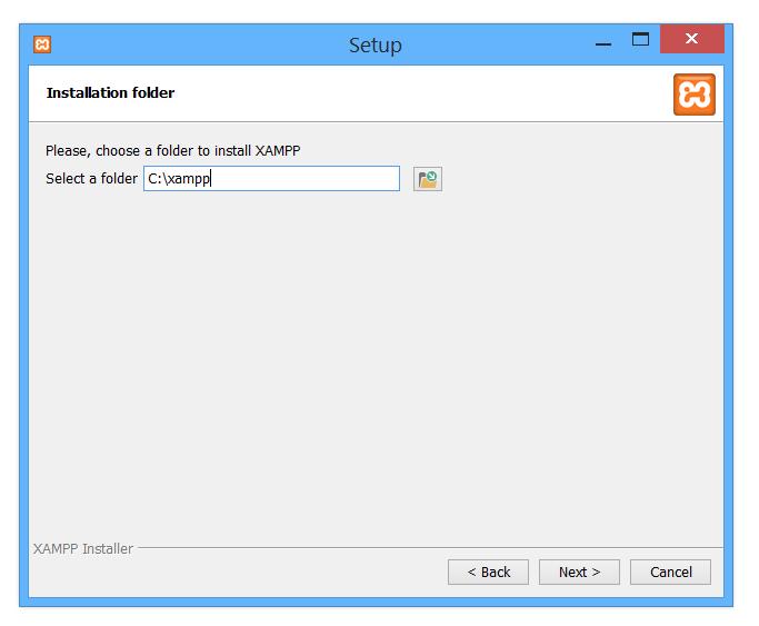 Xampp installation folder selection