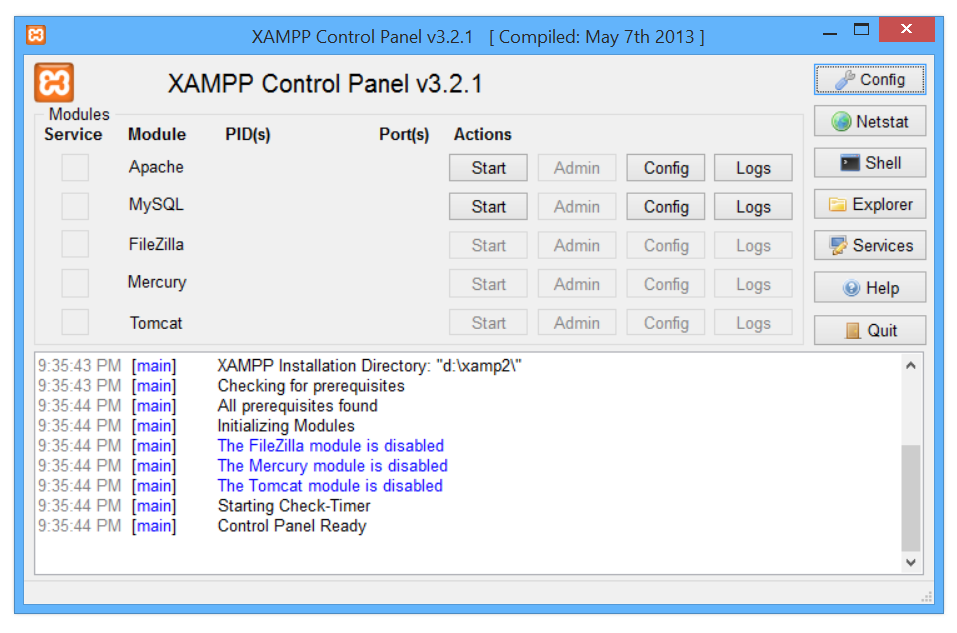 Xampp control panel start up